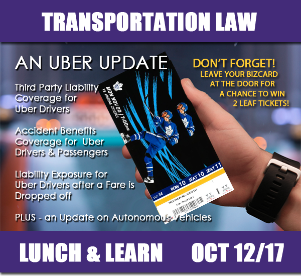Transportation Law Seminar - Lunch and Learn - October 12, 2017 - An UBER Update